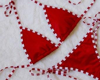 Candy Cane Solid Red Bikini with Red and White Striped Trim - Cheeky String Bikini - Skimpy Christmas Holiday Swimwear - Brazilian Bikini