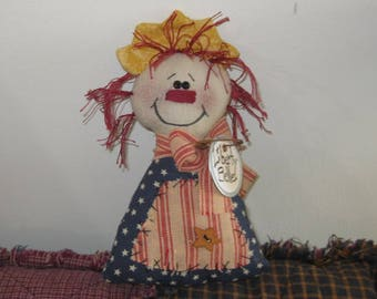 Liberty Belle - Shelf Sitter - Patriotic - Americana Decor - Handmade Doll - Bowl Filler - Tuck - FAAP~HAFAIR~TEAMHAHA