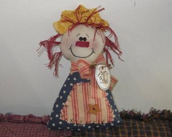 Liberty Belle - Shelf Sitter - Patriotic - Americana Decor - Handmade Doll - Bowl Filler - Tuck - FAAP~HAFAIR~TEAMHAHA