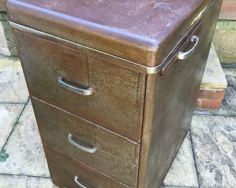 Antique vintage industrial three draw cabinet with side table extention