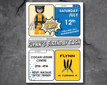 Wolverine/Logan party invitations - free P&P