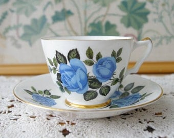 Royal Imperial Bone China Bue Rose Teacup and Saucer pattern 720