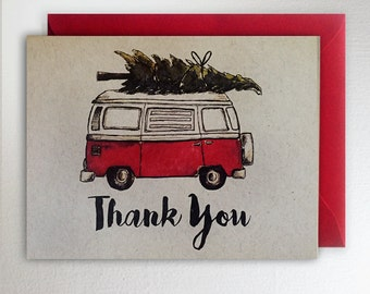 Christmas VW Van Thank You / Christmas Tree Card Volkswagon