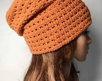 Orange LOUISON Crocheted Hat - Hand Made Crocheted Hat - Orange Slouchy Hat - Woman Hat - Man Hat - Ready To Ship