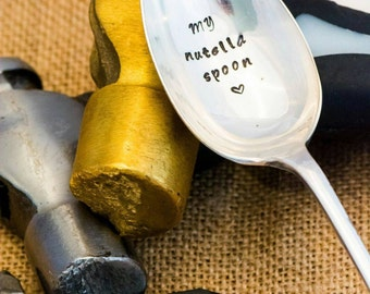 My Nutella Spoon / Personalised Engraved Spoon / Hand Stamped Spoon / Chocolate Spoon / Stamped Cutlery