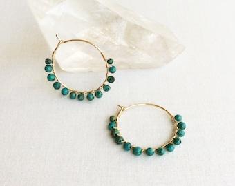 Turquoise Hoop Earring - Turquoise Earring - Gold Turquoise Earring - Small Turquoise Earrings - Genuine Turquoise Jewelry  - Turquoise