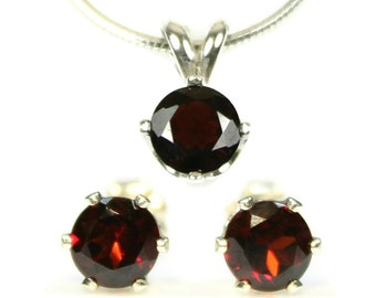 Garnet Jewelry Set Sterling Silver January Birthstone Garnet Earrings and Necklace Red Gemstone Studs and Pendant Birthday Gift for Her