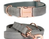 Dog collar CONCRETE with rose gold colored hardware - handmade - minimal