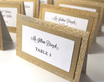 Glitter Gold Wedding Placecards