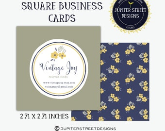Square Business Cards-Flower Business Card-MOO Business Card-Branding-Double Sided