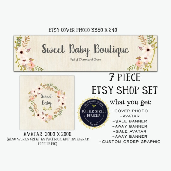 Etsy shop banner set pink etsy shop banner shop set boutique for Etsy shop policies template