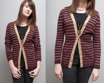 VTG 1970's Burgundy & Gold Metallic Stripped Fitted Cardigan - S