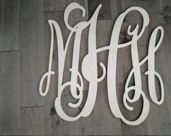 "1/4"" Baltic Birch Plywood Vine Monogram letters"