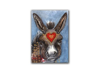 Valentine's Day Donkey 1 Artwork Miniature  llmartin Original ACEO  Watercolor  Farm and Country  Free Shipping in USA