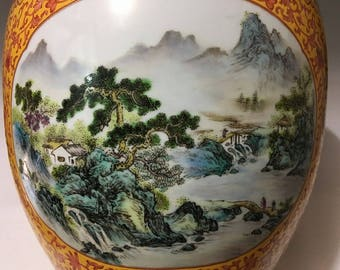 A Great Unique Chinese Antique Qing Dynasty Famille-Rose Porcelain Scenery Pot