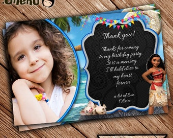 SALE Moana Thank You Cards Personalized- Printable - Birthday - Greeting cards - Beach Theme - Moana Birthday Thank You Card-Thanks note