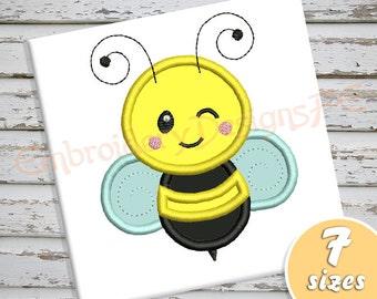 Bee Applique Design - 7 sizes - Machine Embroidery Design File