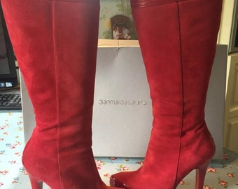 Stunning red leather and patent sexy boots