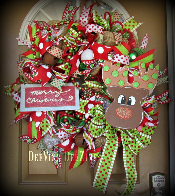 Whimsical Rudolph Mesh Christmas Wreath