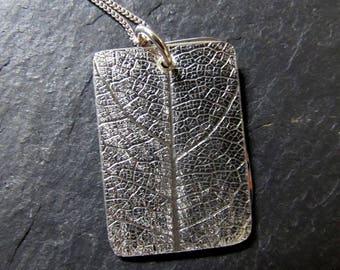 Portrait Sterling Silver Leaf Imprint Photo Locket
