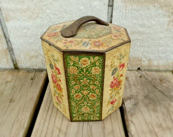 Vintage Octagon Floral Tin Can, Made in Belgium, Biscuit or Toffee Tin, Mid-Century, Decorative Canister, Curved Handle, Chabby Chic