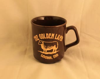 The Golden Lamb Vintage Mug Cup Lebanon Ohio's Oldest Inn Brown Gold Print Travel Souvenir