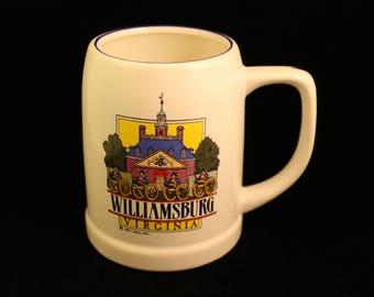 Virginia Mug Williamsburg and Jamestown Travel Souvenir Coffee Cup Beer Tankard Stein Gift Sailing