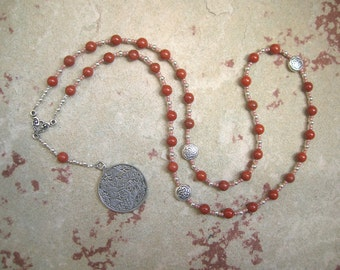 Epona Prayer Beads in Red Jasper: Gaulish Celtic Goddess of the Horse, Goddess of Soldiers