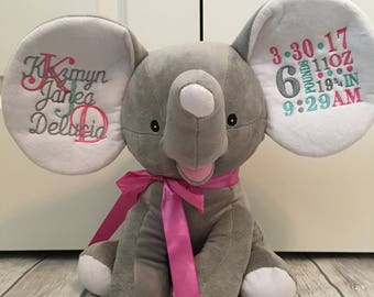 MANY COLORS! Adorable Plush Monogrammed Elephant in pink, gray, white or blue!!! Both ears monogrammed included!