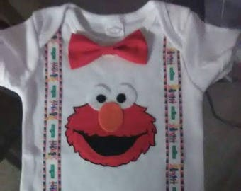 Elmo Birthday Outfit with Suspenders & Bow tie