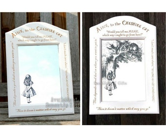Alice (& Cheshire Cat) Engraved Mirrors in Engraved frame - Natural version available
