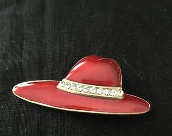 Vintage Rhinestone Enamel Red Hat Pin Brooch, Red Hat Society Pin, Red and Purple Hat Pin, Hat pin, vintage red hat society pin