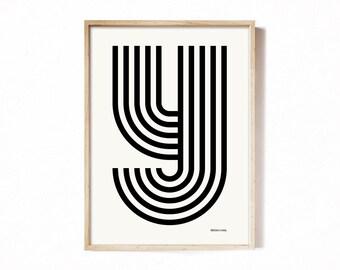 Letter Y - modern typography alphabet print.