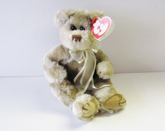 Ty Attic Treasures Bear-Beverly-Vintage 1993 Beanie Babies Co Plush Soft Stuffed Figure Animal Toy-Both Tags Present