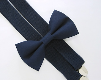 Bow Tie and Suspenders  -Solid Navy Bow Tie and Navy Suspender set for Baby,Toddler and Boys, Suspender and bow tie set