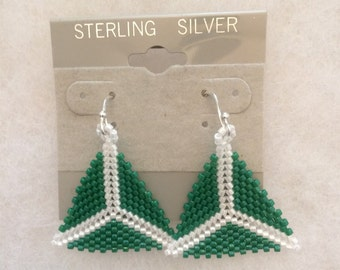 Triangle Peyote Beaded Earrings/Hand-Woven