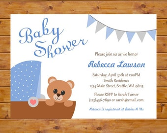 Blue Baby Shower Invitation with Teddy Bear and Carriage - Teddy Bear Invitation - Printable, Custom, Digital File