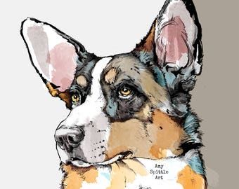 Cardigan Corgi Art - Cardigan Corgi Print - Corgi Gift - Corgi Lover - Dog Lover Gift - Corgi Decor - Corgi Drawing