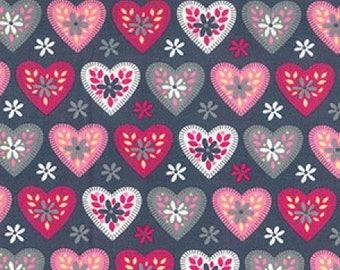 Grey Heart Print Cotton Poplin Fabric - 100% Cotton -Fat Quarter