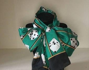 1980s caesars palace silk dice scarf / Las Vegas / dice / green / vintage / retro