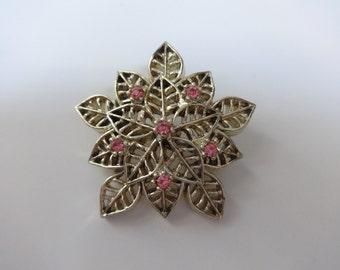 Pin, Flower Pin, Floral Pin, Rhinestone Pin, Pink Pin, Brooch, Pink Brooch, Flower Brooch, Floral Brooch, Pink Flower Pin, Pink and Gold Pin