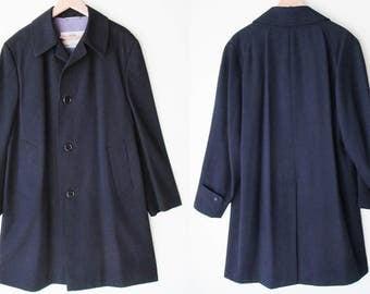 Men's Vintage 50/60s Luxury AQUASCUTUM/London Dress Navy Overcoat Trench Topcoat Coat 42/44