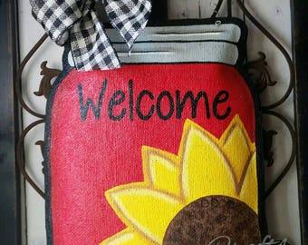 Sunflower on Mason Jar Burlap Door Hanger Decoration and Wreath Replacement