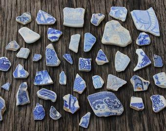 BULK Lot of Sea Pottery Shards Willow Pattern