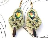 Soutache Bridal Earrings, Gold Earrings, Shabby Chic Jewelry, Wedding Earrings, Party Earrings, Shiny Earrings With Crystals, Gift For Wife