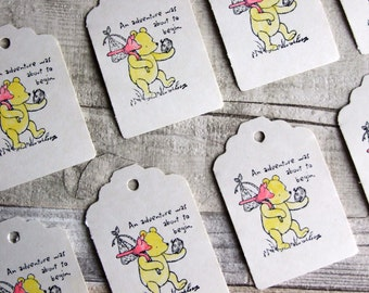Classic 'Winne the Pooh' Hand stamped and Hand Painted Watercolour, Cream Scalloped Luggage Tags - Set of 10