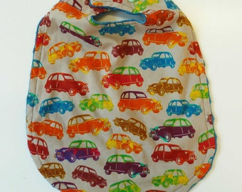 Baby Bib with Cars, Baby Boy Bib, Blue Baby Bib, Toddler Girl Bib, Large Toddler Bib