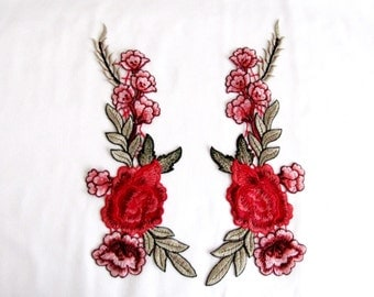 2 PCS.Davoli Floral Patch, MIRROR Flower Appique, Red and Pink Flower Applique,  Sew On Patches