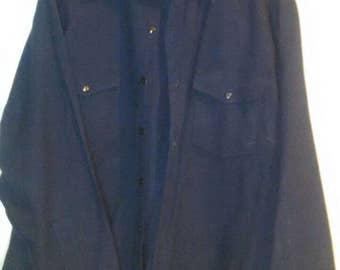 Vintage 1950's  LL Bean Navy Blue 100% Wool Shirt size XXL
