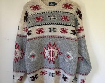 Vintage Men's Woolrich Southwest Intarsia Pattern Wool Sweater Medium